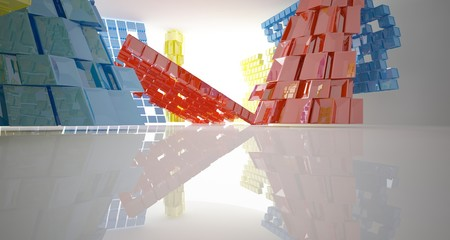Fototapeta Abstract white and colored interior multilevel public space with window. 3D illustration and rendering.