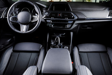 Interior of prestige modern car.