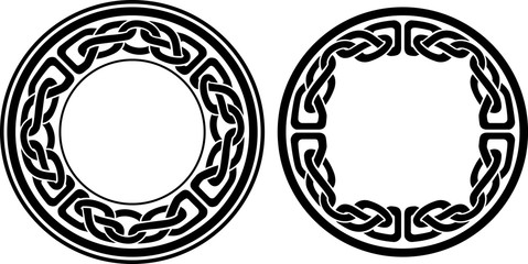Round Celtic Style Frame, Isolated Vector