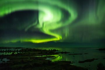Foto auf Acrylglas Nordlicht Nordlicht über den Schären bei Svedjehamn [FIN[