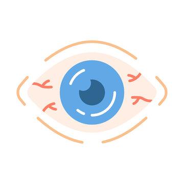 Allergic conjunctivitis flat design long shadow color icon