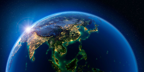 Earth at night and the light of cities. Asian countries.