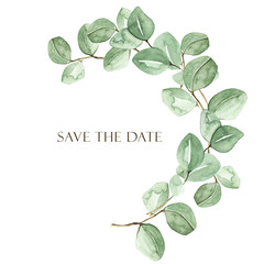 Watercolor branch with eucalyptus. Perfect for cards, wedding invitation, posters, save the date or greeting design. Summer flowers with space for your text.