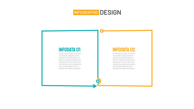 Business infographic template. Thin line flat design with squares process 2 options or steps. Vector element for presentations.