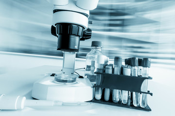 Laboratory microscope with blurred background
