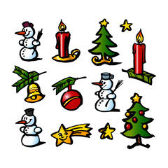 Christmas decorations, trees, stars, candles and snowman, set of color icons