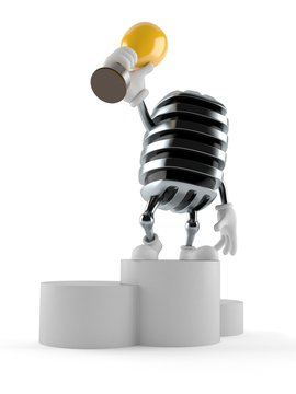 Microphone character on podium holding trophy