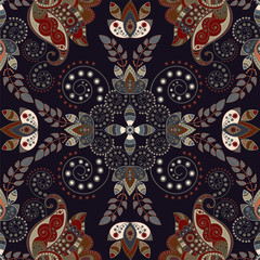 Fotobehang Botanisch Colorful floral decorative pattern for textile, cover, wallpaper, fabric. Ethnic vector background with geometric elements. Indian decorative backdrop. Vector illustration, abstract batik indonesia