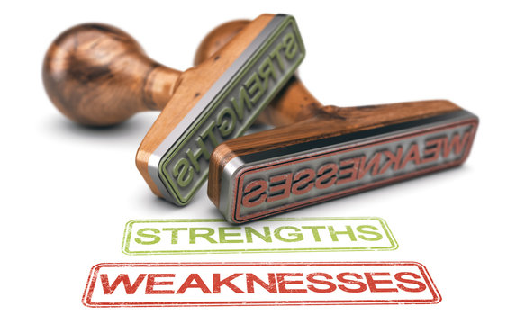 Strengths and Weaknesses Words And Two Rubber Stamps Over white Background