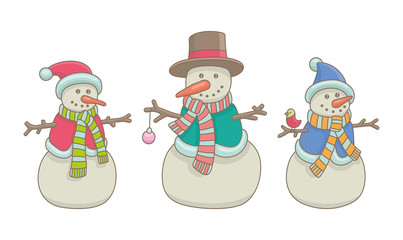 Wall Mural - Set of Snowmen. isolated on white background