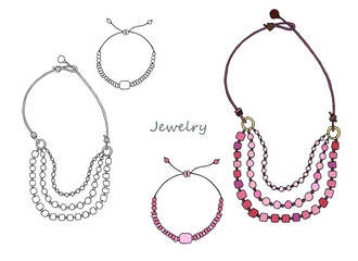 Set of ethnic jewelry made of pink stone (rose quartz). Necklace and bracelet. Picture in color and black and white graphics.