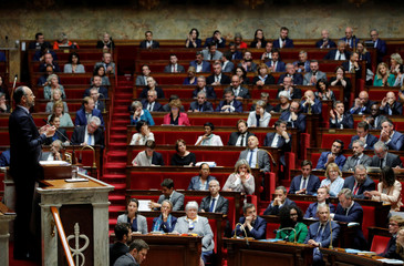 French Prime Minister Edouard Philippe delivers his second general policy speech at the National Assembly in Paris
