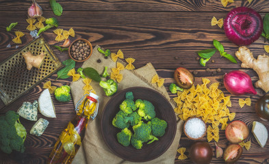 Organic healthy food on wooden background