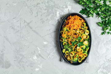 Roasted Brussels sprouts and marinated carrot chips