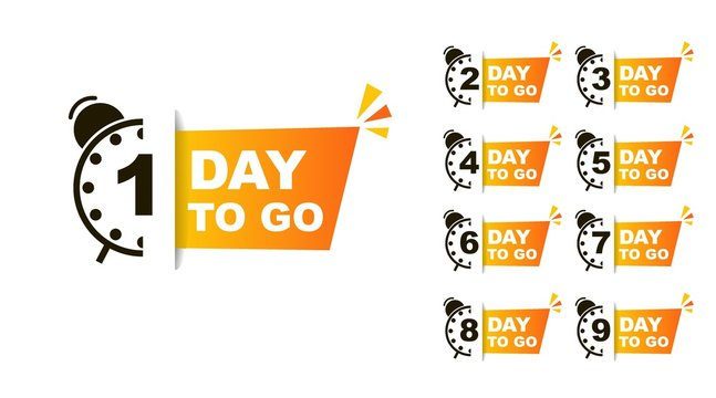 1 day to go. Vector stock illustration