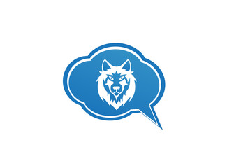 Wolf head and face looking in front in a chat icon for logo design