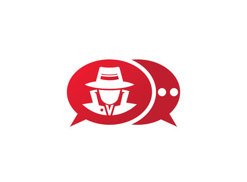 detective spy with hat in a chat icon for logo design illustration, secret job icon