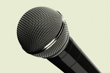 3D rendering of a close up of a microphone