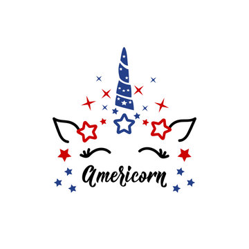 Americorn. Vector illustration. Lettering. Ink illustration. T shirt design in American style.