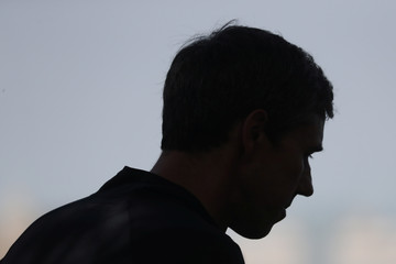 Democratic 2020 U.S. presidential candidate Beto O'Rourke is seen in silhouette speaking to media after  completing a 2 mile run with members of the LGBTQ community along the Hudson River Greenway in New York City