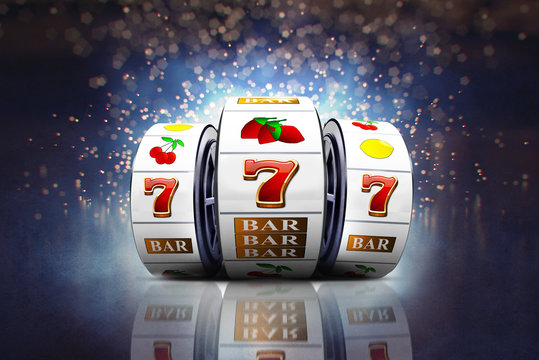 Illustration, Slot machines with lucky Jackpot of online casino element isolation on colorful background.