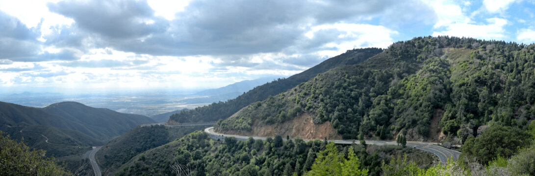 One of the winding roads heading down into the basin from the mountains surrounding Los Angeles.