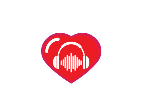 Headphones with music beats, Headset Logo design illustration in a heart shape love icon