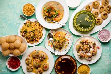 Obraz group of Bombay chat food includes golgappa/panipuri, bhel-puri, sev-poori, dahipuri, Ragda pattice, raj kachori etc. selective focus - fototapety do salonu