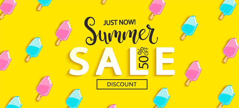Summer Sale bitten ice cream banner on yellow background, hot end or mid season 50 percent discount poster.Invitation for shopping, special offer card, template design for promotions. Vector.