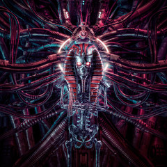 Curse of the neo pharaoh / 3D illustration of metallic futuristic zombie skeleton Egyptian robot surrounded by alien machinery
