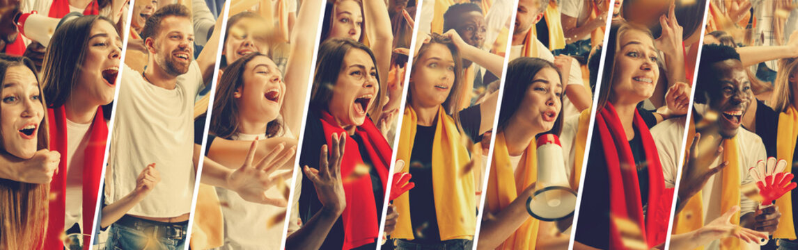 Group of happy fans are cheering for their team victory. Male and female models as a fans of football or soccer team while it's match at the stadium. Collage made of different photos of 8 people.