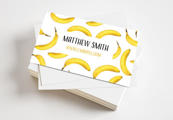 Business Card Layout with Photo of Bananas