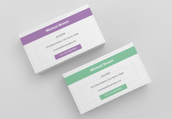 Business Card Layout with Dashed Lines