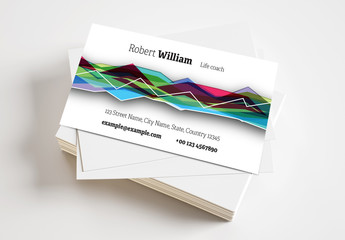 Business Card Layout with Multicolored Abstract Background