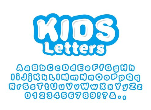 Cute childrens letters isolated on white background. Ready font, alphabet for the design of childrens prints, designs and more. Bright vector letters for print.