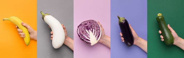 Fruits and vegetables set on different backgrounds