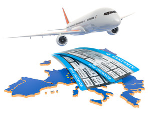 Flights to the European Union concept. 3D rendering