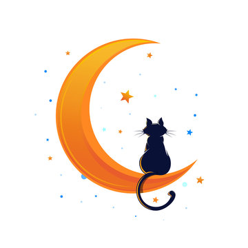 Cat sitting on a crescent moon surrounded by stars