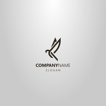 black and white simple vector line art logo of an abstract flying bird