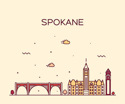 Spokane skyline Washington USA vector linear style