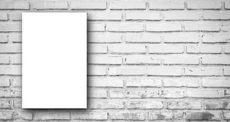 mock up white poster on gray tone color brick tile wall panoramic background texture for vintage...
