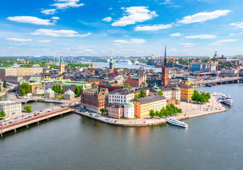 Poster de jardin Stockholm Stockholm old town (Gamla Stan) panorama from City Hall top, Sweden