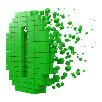 number 0 shaped data block. version with green cubes. 3d pixel style vector illustration.