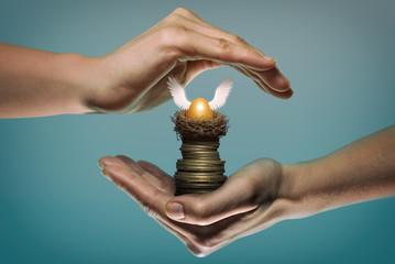 Golden egg in nest on stack of coin. Safety gesture. Concept safe custody of cash. Image