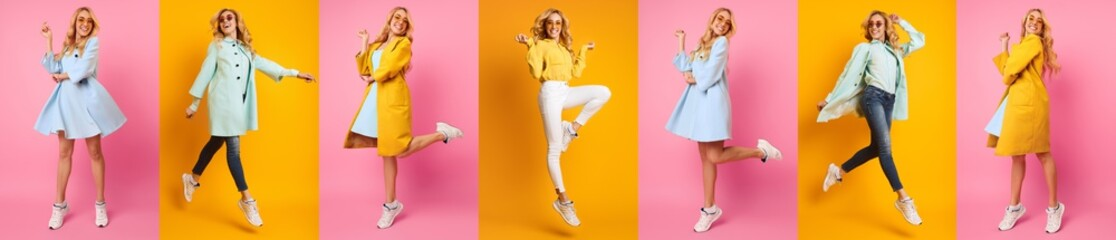 Casual Woman Jumping And Having Fun Against Colorful Backgrounds Wall mural