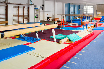 Various gymnastic equipment at acrobatic center