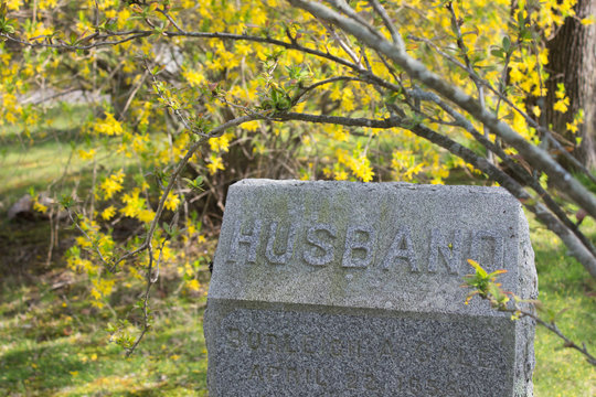 gravestone with  Husband on it with flower background. Concept of lost of spouse, widowness, getting old alone