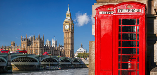 Fototapete - London symbols with BIG BEN, DOUBLE DECKER BUSES and Red Phone Booths in England, UK