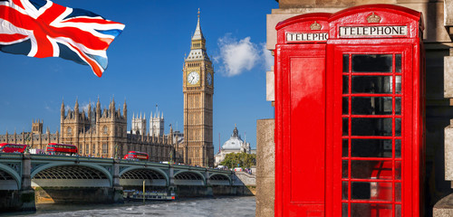 Fototapete - London symbols with BIG BEN, DOUBLE DECKER BUS, FLAG and Red Phone Booths in England, UK