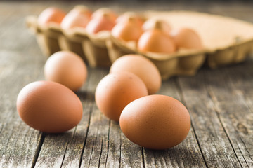 Raw chicken eggs.